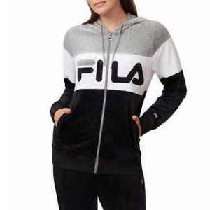 Fila Velour Colorblock Full Zip Hoodie Size Medium